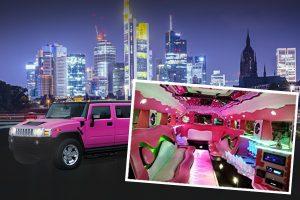 Pinke Hummer Limosuine für den JGA Frankfurt