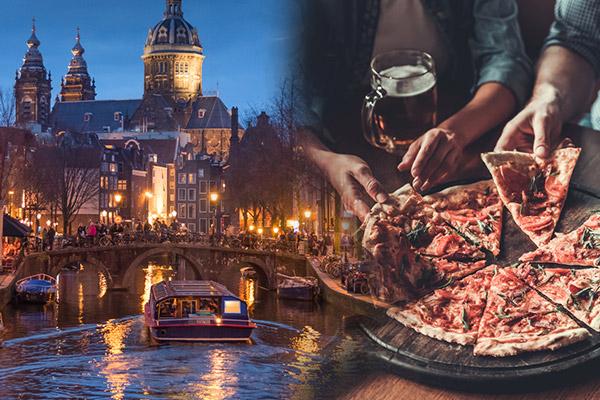 Junggeselleanschied Amsterdam - Grachtenfahrt inkl. Pizza und Bier-Flatrate
